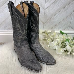 Tony Lama Black Sueded Leather Western Boots 91/2D